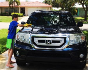 Carson washing car